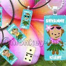 Monkey Miniature Domino Tile Pendant - Hula Monkey girl (personalized Hawaiian name)