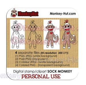 Sock Monkey Digital Stamp Clip Art - PERSONAL USE