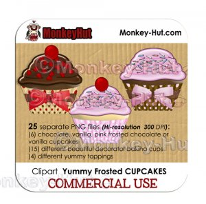 Cupcake Clip Art - COMMERCIAL USE
