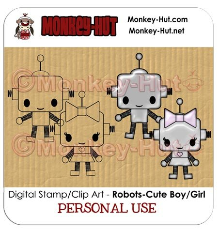 Clip art/digital stamp Robot CUTE boy/girl - PERSONAL USE