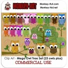 Owl Clip Art Set - Mega set - clipart trees branch COMMERCIAL USE