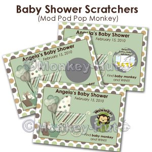 Monkey Baby Shower Scratch Off Card Ticket Game Favor - 20 personalized cards