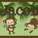Monkey Monkeys Wall Art Name Print #3