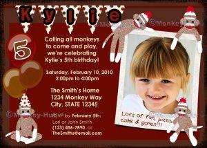Sock Monkey sockmonkey Birthday Invitation (DIGITAL)