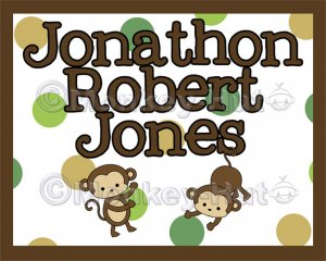 "Monkey Monkeys Wall Art Name Print #2 (11""x14"")"