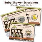 Jungle Monkey Baby Shower Scratch Off Card Ticket Game Favor - 80 personalized cards