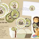 Jungle Monkey Baby Shower Tags (favor, cupcake topper) circle shape