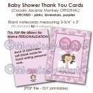 Monkey Baby Shower Thank You card cards PDF printable DIY