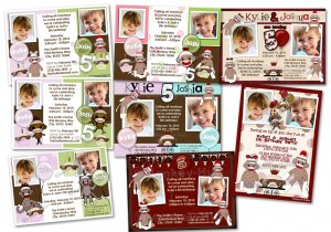 Sock Monkey Birthday TWINS Invitation invite Digital File (choose from 8)