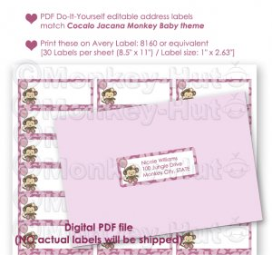 Printable editable DIY address labels Monkey Baby Shower PDF file