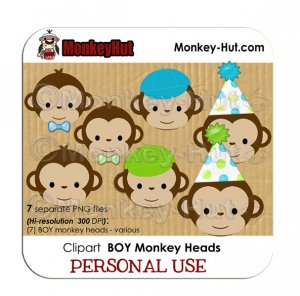 Monkey clip art birthday BOY heads blue yellow green