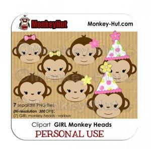 Monkey clip art birthday GIRL heads pink yellow green