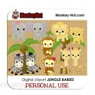 Adorable baby safari/jungle animals clip art