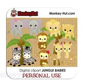 Adorable baby safari/jungle animals clip art