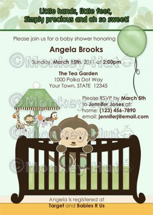 Monkey Baby Shower invitation crib Green CJ-G (DIGITAL)