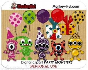 Cute little monster clip art kit