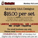 COMMERCIAL USE license fee for Monkey Hut digital clip art or digital stamp sets