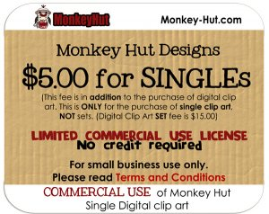 COMMERCIAL USE license fee for Monkey Hut SINGLE digital clip art