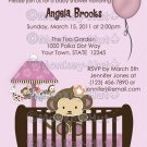 Monkey Baby Shower invitation crib Original Orchid lavendar/pink/purple CJ-O (DIGITAL)