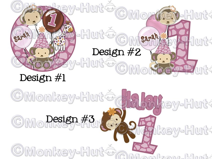 Digital Personalized Birthday Iron-On Design printable (DIY) Monkey CJ-O