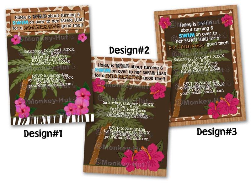 Tropical Safari Jungle Birthday invitation available in different styles