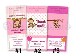 Monkey Personalized baby shower mini hershey candy wrapper favors (MM#2 Miss Monkey) DIGITAL