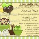 Monkey Baby Shower Invitation Carriage MPP-yellow/green (DIGITAL)