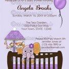 Jacana Elephant Baby Shower Invitations CJE-Pur / PURPLE monkey elephant zebra / DIGITAL INVITATION