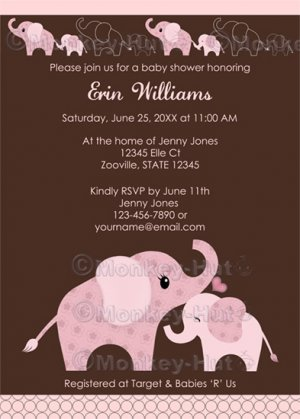 elephant baby shower invitation baby kiss ce-p (digital), Baby shower invitations