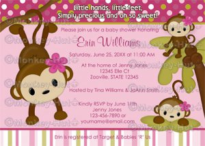 MONKEY Baby Shower Invitation 3 Little Monkeys 3LMP (DIGITAL)