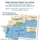 Turtle Reef Girl TURTLE Baby Shower Thank You card PDF file printable DIY TRC-P