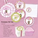 Girl Monkey Jungle Jill Baby Shower Tags - (favor, cupcake topper) circle shapes