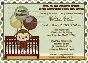 Monkey Baby Shower Invitation Mod Pod Pop Crib Mpp2 01