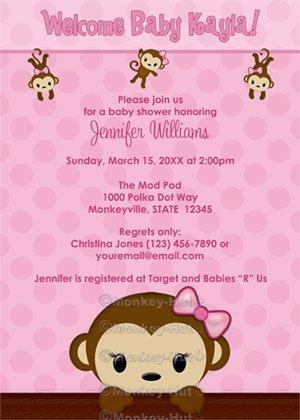 Monkey Baby Shower Invitation Polka Dot Pink Girl Mpp3 Pab02 Digital