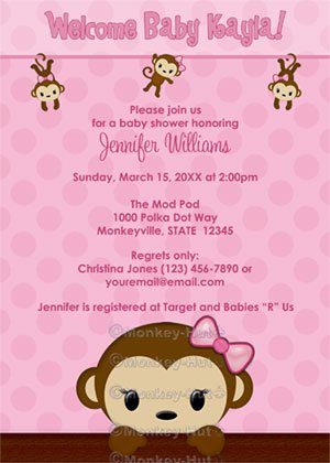 MONKEY Baby Shower invitation Polka Dot PINK GIRL MPP3 PAB02 (DIGITAL)