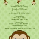 MONKEY Baby Shower invitation Polka Dot GREEN BOY GIRL MPP3 PAB01 (DIGITAL)