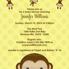 MONKEY Baby Shower invitation Polka Dot YELLOW GIRL BOY MPP3 PAB04A (DIGITAL)