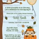 MONKEY Baby Shower Invitation Fall Pumpkin NEUTRAL (DIGITAL)