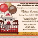 Baby Shower invitation GIRL Sock MONKEY Crib SMC-G (DIGITAL)