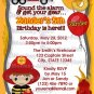 Fire Truck Firefighter Dalmation Birthday Invitation FFB (DIGITAL)