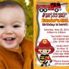 Fire Truck FIREFIGHTER Dalmation Birthday Invitation FFB PHOTO (DIGITAL)