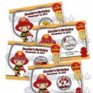 FIREFIGHTER Fire Truck Dalmatian Birthday Scratch Off Card Ticket Game Favor - 20 personalized cards
