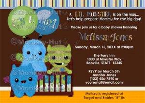 Monster Baby Shower Invitation Peek a Boo Monsters BOY (DIGITAL)