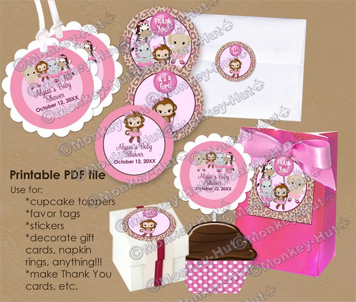 Girl Monkey Baby Shower Tu Tu Cute Ballerina Tags (favor, cupcake topper) circle shapes DIGITAL