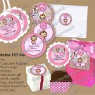 Girl Monkey Baby Shower Tu Tu Cute Ballerina Tags (favor, cupcake topper) circle shapes DIGITAL