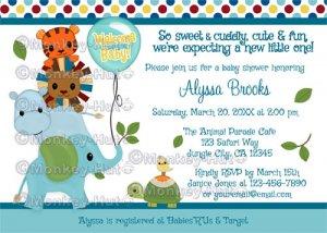 Animal Parade Baby Shower Invitation Elephant Hippo Lion Tiger Turtle (DIGITAL)