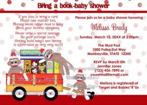 Bring a book baby shower invitation book shower sock monkey (DIGITAL) neutral