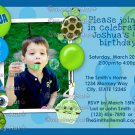 Turtle Birthday Invitation boy girl green blue turtle balloon (DIGITAL)