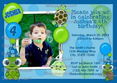 Turtle Birthday Invitation boy girl green blue turtle balloon (DIGITAL)