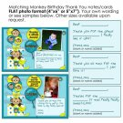 Birthday Monkey Thank You card cards notes personalized photo FLAT (digital)